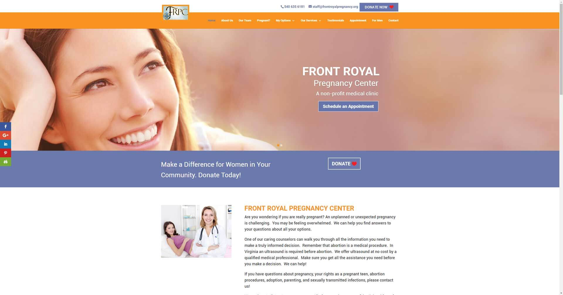 frontroyalpregnancy.org screenshot